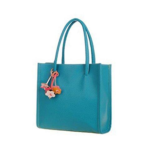 Fami Mode en cuir élégant filles bonbons couleur florale Sac à bandoulière Bleu