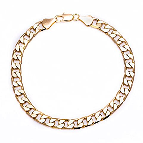 Luxury Curb Bracelet - 18K Gold plated - Mens - 6mm Cuban, Bling solid