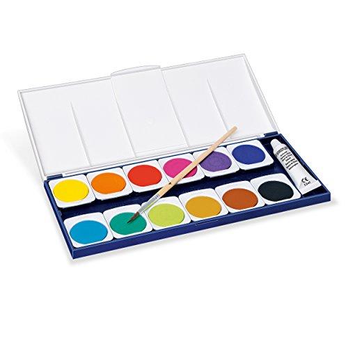 Staedtler Noris Club 888 NC12 Farbkasten, leicht mischbare Wasserfarben, hohe Farbbrillanz, hervorragende Deckkraft, Set aus 12 auswechselbaren Farbtöpfchen, 1 Tube Deckweiß und 1 Pinsel - 2