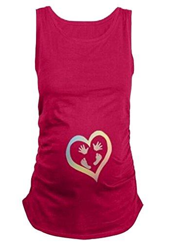 Footprints Print Mutterschaft Weste reine Farbe lustige süße Weste Top oder für Schwangerschaft Geschenke (T-shirt Footprints Design)