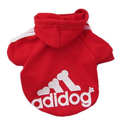Sunshine D Adidog Haustier Hund Hoodie, Hündchen Overall Pullover, Haustiere Sportswear Jacke Kostüme Welpen T-Shirt für kleine große Hund - Rot,M