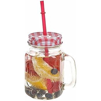Satyam Kraft Glass Hole Mason Jar with Lid and Straw, 500 ml, Random Colour