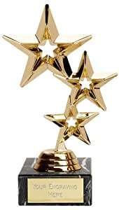 "8"" Triple Gold Star Trophy/Award Free Engraving upto 30 Letters FT94A"