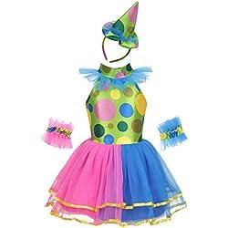 Freebily Enfant Fille Déguisement de Clown Robe et Chapeau Tutu Arc en Ciel Ensemble Costume Soirée Mascarade Fille Justaucorps Danse Spectacle Carnaval Fête 2-12 Ans Coloré 7-8Ans