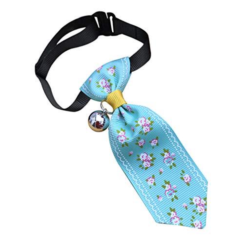 TUDUZ Pet Supplies Drucken Krawatte für Katzen und Hunde Einstellbar Dekorativer Kragen mit Glöckchen Haustier Krawatte für Alltag, Foto, Hochzeit(Small,A-Blau) (Zwinger Hund Einstellbare)