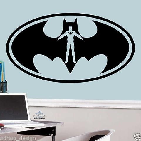 Batman Logo Sticker mural pour enfant en crèche garçons chambre enfants Sticker mural, Blanc, -Medium -SIZE 90cm x 45cm (36