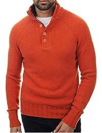 c5d68a993aa5 Balldiri 100% Cashmere Herren Pullover Troyer mit Knöpfe 8 fädig  orange–braun 3XL