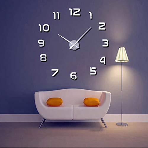 HCGZ Reloj de Pared Bricolaje 3D, Pared sin Marco Reloj calcomanías Pared Moderno Grande de decoración para Sala de Estar Dormitorio silencioso no-Tic TAC Reloj de Cuarzo-La Plata
