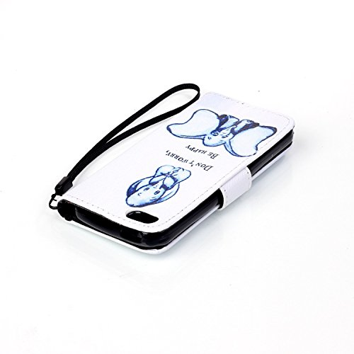 Etsue Lanyard/Strap für Apple iPhone SE/iPhone 5S Blau Elefant Lederhülle Leder Tasche Case Hülle im Bookstyle Muster, Bunte Retro Painted Leder Brieftasche Wallet Cover Flip Case Silikon Schutzhülle  Cartoon Elefant