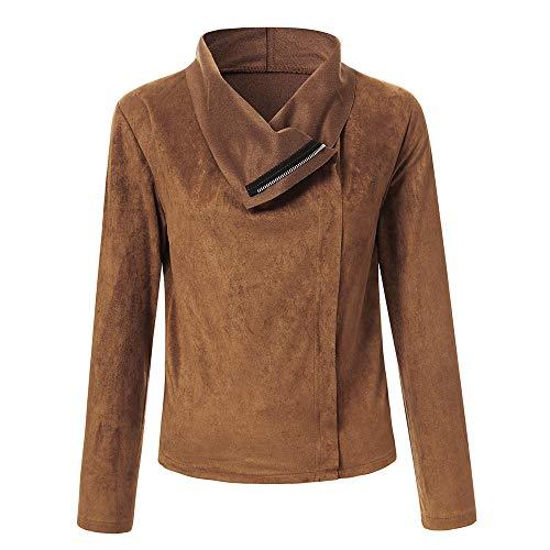BHYDRY Damen Retro Rivet Zipper Up Bomberjacke Mantel Lässig Outwear(Medium,Braun