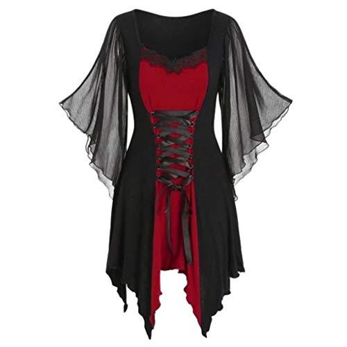 SUMTTER Gothic Kleidung Damen Oberteil Spitze Bluse Tunika Korsett schwarz Kostüm Hexe für Halloween Karneval Weihnachten