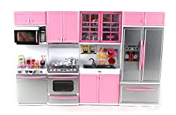 Deluxe Modern Kitchen Battery Operated Toy Kitchen Playset, Perfect For Use With 11.5