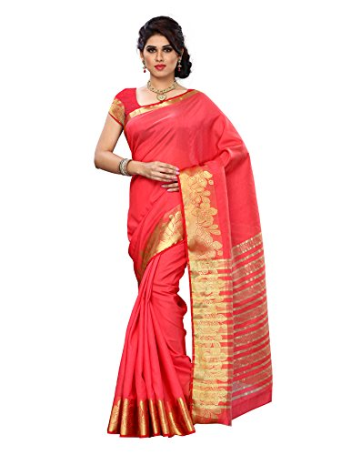 Mimosa Women Tussar Silk Saree With Plain Blouse (Red ,3151-2068-TUS-STRAB)