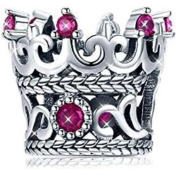 Abalorios Charms para Mujer de la corona de la Reina de plata de ley 925 con circonita cúbica rosa compatible con Pand y pulseras europeas regalo de Navidad