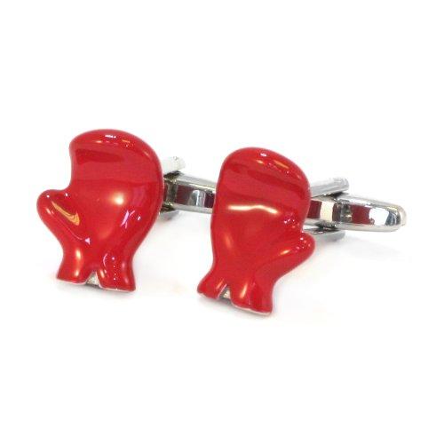 1StopShops Red 3D Boxhandschuh Manschettenknöpfe in Geschenkbox -