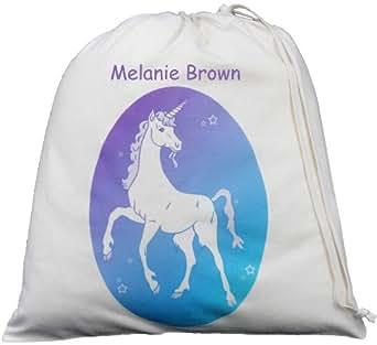 Personalised - Unicorn - Large Natural Cotton Drawstring Storage Bag - PE Kit