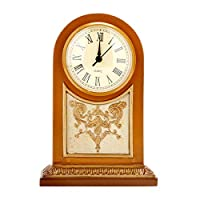 Uzone Vintage Desk Clock, Hand Painted Pattern Original Design Quite No-Ticking Battery Operated Table Clock for Living Room Kitchen Decor(Gold)