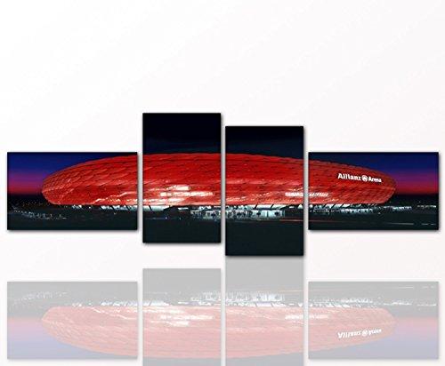 Leinwandbild Bayern Arena 4 tlg. je 30x50cm - Das Müchener Stadion als Leinwandbild