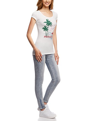 oodji Ultra Damen T-Shirt mit Schlüssellochausschnitt Am Rücken Weiß (126EP)