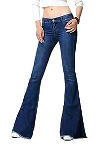 Mena UK- Women 's AA forte vento - Qualità auto - La coltivazione lavato abrasivi pantaloni jeans di marca di modo indipendente grande campana - Bott ( Colore : Il blu scuro. , dimensioni : S. )