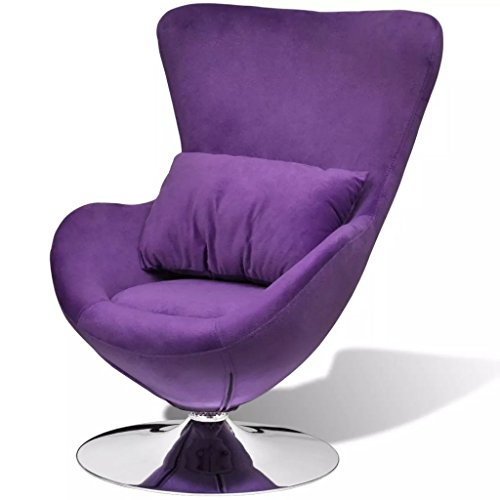 Tidyard Drehsessel Lounge Sessel in Ei-Form mit Kissen, Stoff Lila/Schwarz/Silber Optional, 64 x 64 x 86 cm (B x T x H)