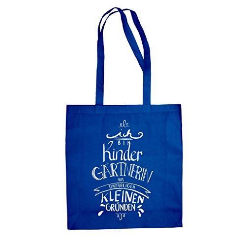 Geschenk für Kindergärtnerin - Ich bin Kindergärtnerin - Jutebeutel - von SHIRT DEPARTMENT fuchsia-weiss