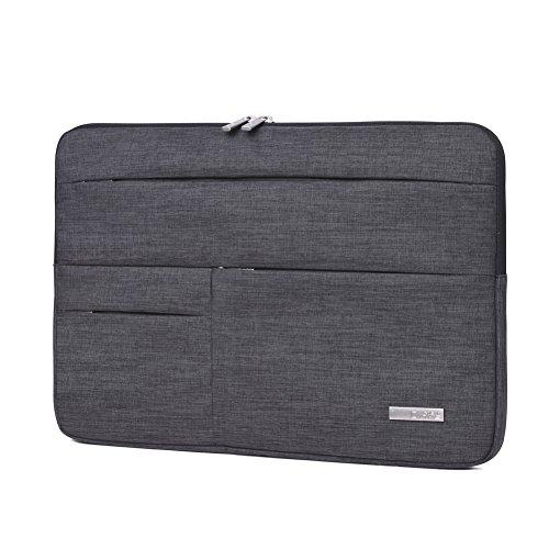Feisman Sleeve Hülle Tasche für 15-15,6 Zoll MacBook Pro, Notebook Computer Wasserresistente Lycra Laptophülle Schutzhülle Laptoptasche Notebooktasche mit Kleinen Fall -(Dunkelgrau)