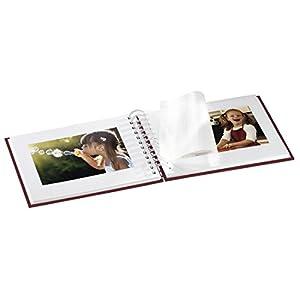 Hama-Fotoalbum-24-x-17-cm-50-weie-Seiten-25-Blatt-mit-Ausschnitt-fr-Bildeinschub-Fotobuch-bordeaux