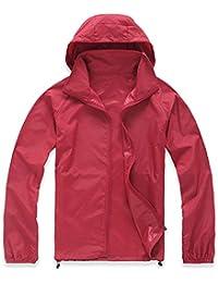 Mochoose Femme Légère Packable Veste de Sport à Capuche Protection UV Coupe Vent Imperméable à Séchage Rapide