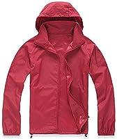 Mochoose Women's Super Lightweight Rainwear Outdoor Hoodie Packable Jacket Quick Dry Windbreaker Waterproof UV Protect Skin Coat(Red,L)