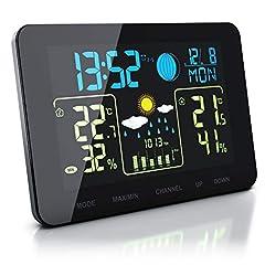 Idea Regalo - Bearware - Stazione Meteorologica Compatta con Display a Colori e sensore Esterno - Temperatura Interna ed Esterna - Touch - Barometro con compensazione dell'altitudine - Allarme Gelo - 2 allarmi