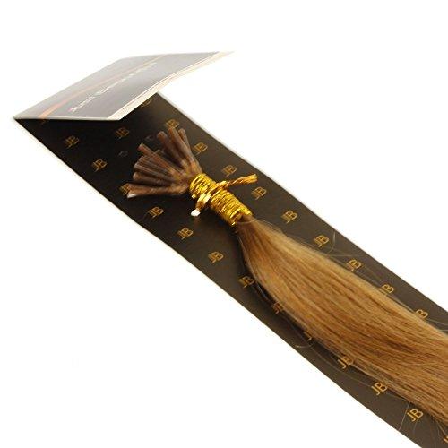 Just Beautiful Hair and Cosmetics Lot de 25 extensions en cheveux naturels Remy avec micro anneaux en forme de I Blond foncé 40 cm 0,5 g