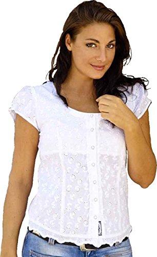 Stars & Stripes Bluse u201eVirginiau201c Kurzarm Damen Baumwolle mit Lochstickerei Gr. S bis 3XL (XL)