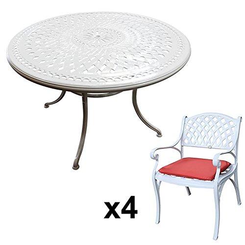 Lazy Susan - ALICE 120 cm Runder Gartentisch mit 4 Stühlen - Gartenmöbel Set aus Metall, Weiß (KATE Stühle, Terracotta Kissen)