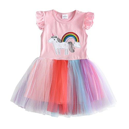VIKITA Mädchen Sommer Blume Kurze Ärmel Baumwolle Freizeit Kleid SH4571 5T