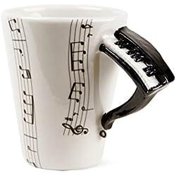 Piano Taza de Café Hecho a Mano 8oz Negro (10cm x 8cm)