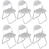 Harbour Housewares White Padded, Folding, Desk Chair/White Frame - Pack of 6