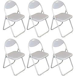 Chaise pliante rembourrée - pour le bureau - entièrement blanche - lot de 6