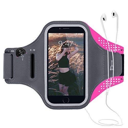 CE-Link Sport Armband iPhone,Android Sportarmband Hülle Handytasche Schweißfest Running Armtasche Reiten Handyhülle Mit Schlüsselhalter, Kabelfach, Kartenfach und Opfhörer Band - Rose (Rosa Samsung-telefon-fall)