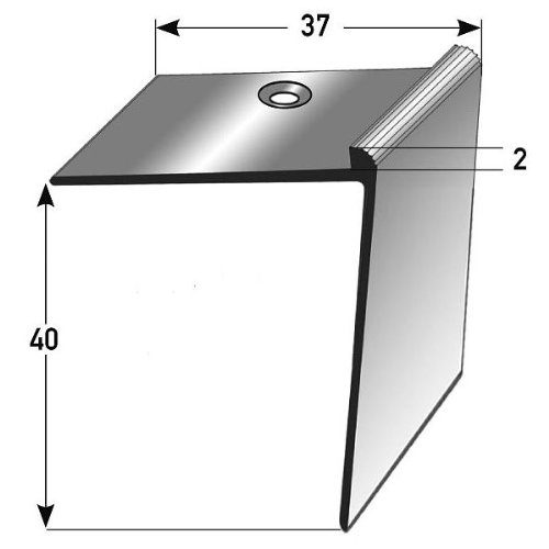 2 metri (2 x 1 m) Profilo per gradini / angolare (40 x 37 x 2 mm) alluminio anodizzato, forato, bronzo