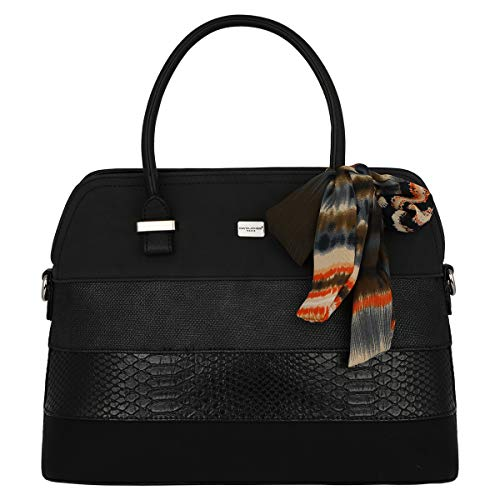 David Jones - Damen Bugatti Henkeltasche - Ladies Bowling Bag Multicolor Streifen Schultertasche - Nubuck Croco Snake Starre Kunst Leder Frau Tasche - Scarf Elegant Classic Satchel Style - Schwarz -