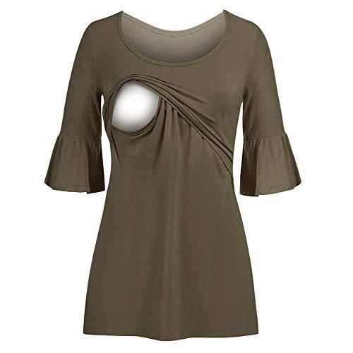 Beikoard Damen Stillender Pullover, Damen Half Flare Sleeve Asymmetrisch Hem Nursing Tunika Tops zum Stillen Still Top für Umstandsmode Freizeit Kleidung
