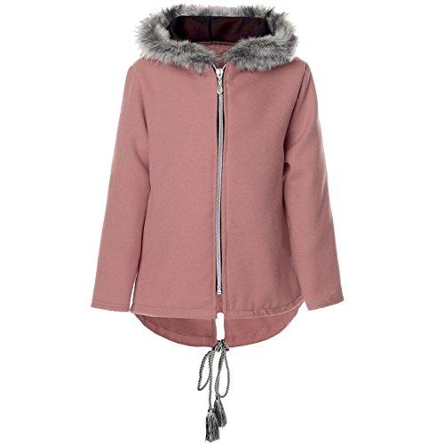 Mädchen Kinder Fleece Jacke Fell Kapuze Stoffjacke 21554, Farbe:Rosa, Größe:164