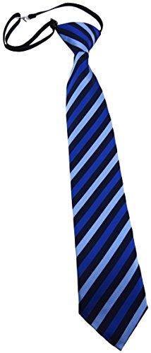 TigerTie Kinderkrawatte blau dunkelblau gestreift - Krawatte vorgebunden mit Gummizug