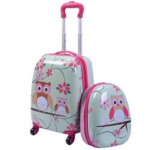 GOPLUS 2 in 1 Valigetta bimbo Trolley bambino Piccolo Bagaglio di Viaggio Carino Valigetta+Zaino Grigio