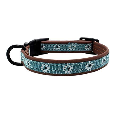 Smniao Hundehalsband Leder Haustier PU Verstellbares Halsbänder mit Schnalle Gedruckt Kragen für Katzen Welpen Kleine Hunde (XS, Hellblau) -