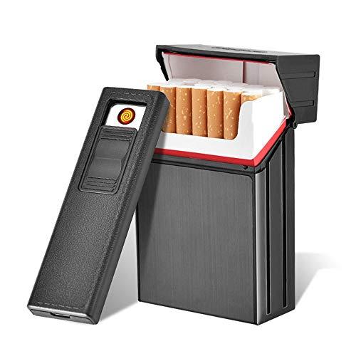 leegoal Zigarettenetui mit Feuerzeug, 2 in 1 Packung 20 Regelmäßige Zigaretten Aluminium Zigarettenbox, wiederaufladbare, Winddicht, Flameless Elektrische Cigar Lighter mit USB-Kabel, Best Gift Men