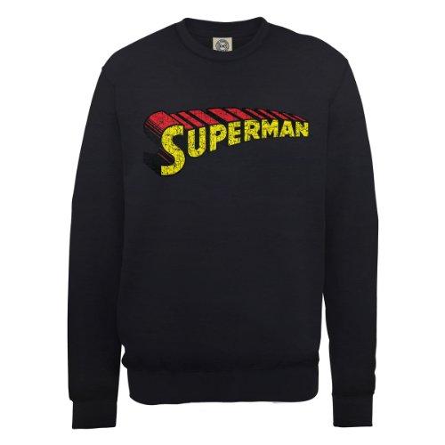 DC Comics Herren, Sweatshirt, DC0000726 Official Superman Telescopic Logo Crackle Nero (Black)