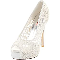 Zicac Scarpe da sposa con tacco donna plateau peep toe bianco Lace (EUR 35)