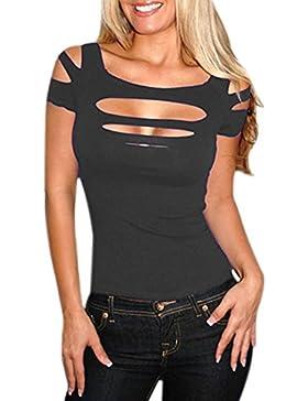 Pinkyee - Camiseta para mujer, diseño desgarrado